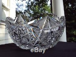 Libbey Glass Co. American Brilliant Cut Glass Colonna 12 Punch Bowl c. 1905