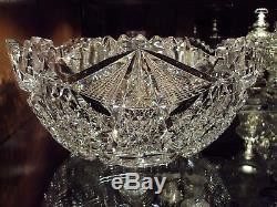 Libbey Glass Co. American Brilliant Cut Glass Colonna 12 Punch Bowl c. 1905