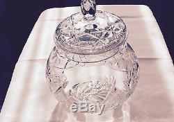 Lidded Cut Glass Punch Bowl 12 Cups And Ladle