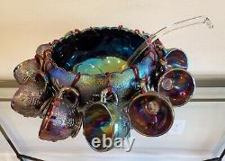 Limited Westmoreland Purple Glass Carnival Three Fruits Punch Bowl Set 14 Pieces