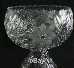 Lovely Antique ABP Brilliant Cut Intaglio Gravic Glass Pedestal Punch Bowl 12