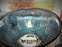 Lovely Large Blue Carnival Glass Punch Bowl with Cups Grape Motif