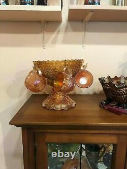 MARIGOLD, CARNIVAL GLASS, EARLY, 1900's, IMPERIAL GRAPE, 8 PCE, PUNCH BOWL+CUPS
