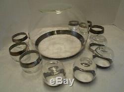 MCM Dorothy Thorpe Roly Poly sterling silver rim Punch Set Bowl 10 Glasses Vtg