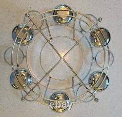 MCM Dorothy Thorpe Style Punch Bowl Set with Chrome Holder Atomic Age Eames Era
