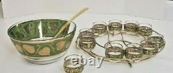 MID-CENTURY Culver Roly Poly Punch Bowl Set 11 Glasses Stand Ladle GOLD & GREEN