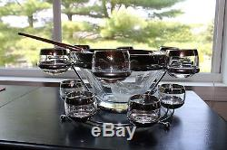 MID Century 2 Tier Punch Bowl & 12 Roly Poly Silver Band Glasses Dorothy Thorpe