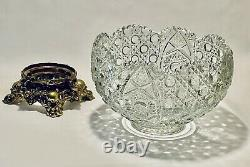 Magnificent Vintage Smith Daisy & Button Punch Bowl With Brass Stand, Silver Ladle