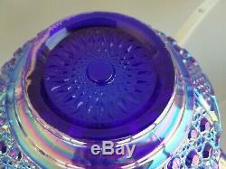 Massive 15 Blue Carnival Glass Punch Bowl on Pedestal set