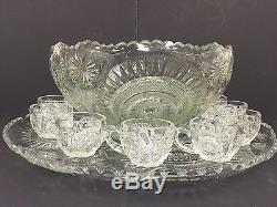 Master Punch Bowl Set US Glass Horseshoe Radiant Daisy Pinwheel Slewed 12 Cups