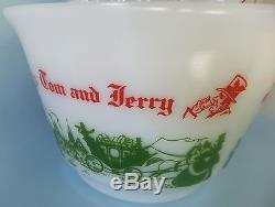 McKee Egg Nog Tom & Jerry Punch Bowl Set Vintage White Milk Glass Nice