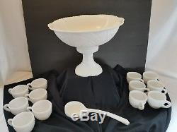 McKee Milk Glass Pedestal Punch Bowl Set Concord Early American Vintage