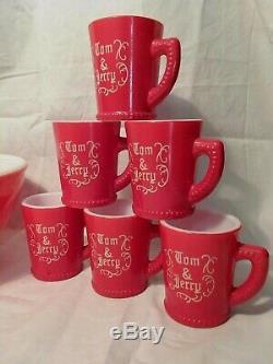 McKee Tom & Jerry Punch Bowl 6 Mugs Milk Glass Set RARE Red