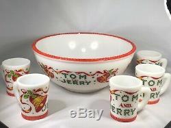 Mckee Glass Red Trim Tom & Jerry Punchbowl Set Hard To Find, Rare Set Bells