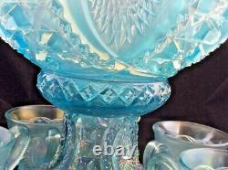 Memphis Northwood ICE BLUE Carnival Glass PUNCH Bowl 9 piece Set
