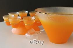 Mid Century 50's Federal Glass Norse Pattern Complete Punch Ensemble ORANGE
