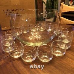 Mid Century Modern Crystal Atomic Starburst Punch Bowl Set Bowl + 16 Glasses