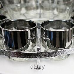 Mid Century Modern Silver Fade Punch Bowl Set with Caddy