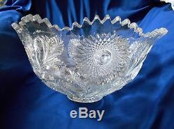 Millersburg Glass-Hobstar and Feather Punch Bowl