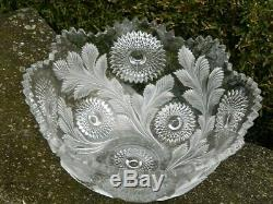 Millersburg Hobstar Feather Flared Punch Bowl 15 Glass Frosted EAPG 1900