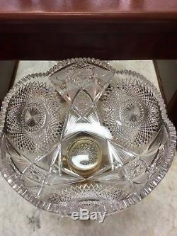 Monumental American Brilliant Period Cut Glass Punch Bowl