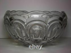 Moon and Star Glass L. E. Smith Large Heavy 12 1/2 Punch Bowl Crystal Clear