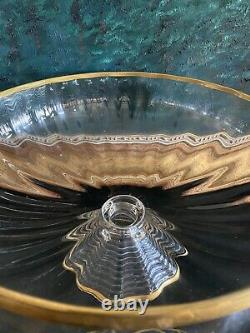 Moser Art Glass Large Punch Bowl Set Quatrefoil Gilded Incredible Bell Tone