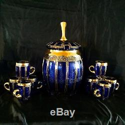 Moser Cabochon Glass Set, Punch Bowl & 10 Cups, Dark Blue Glass With Gold