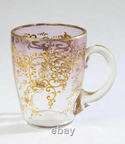 Moser Gilded Punch Bowl or Vase and Five Glasses Signed