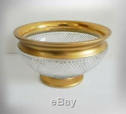 Moser vintage heavy cut crystal punch bowl with 24K gold accents Splendid