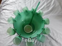 Murano Carlo Moretti Cased Glass Punch Bowl Set, 11 Cups, Ladle