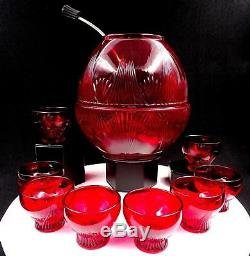 NEW MARTINSVILLE RARE RUBY TOP PRIZE 8 3/8 PUNCH BOWL CUPS ORIGINAL LADLE 1930s