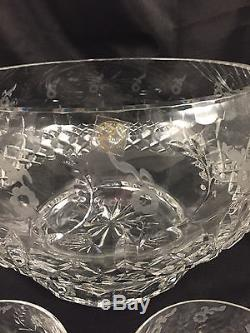 New! Rogaska Gallia Crystal Footed 10 Punch Bowl With 12 Cups Stickers Nwt