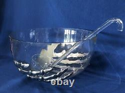 NIB Pottery Barn Skeleton 5 Qt. Punch Bowl with Ladle Halloween Party Bar WOW