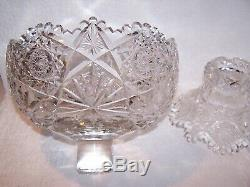 NICE! OLD HAWKES ALBION PATTERN BRILLIANT CUT 2 pc SMALL PUNCH or FRUIT BOWL