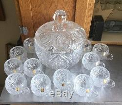 Nachtmann Bleikristal 24% Crystal Florenz Punch Bowl with 12 Cups & boxes