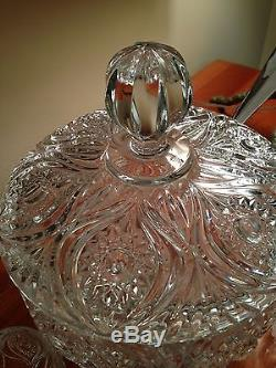 Nachtmann Bleikristall Florenz Punch Bowl With 6 Cups Ladle PERFECT