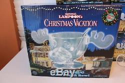 National Lampoon's Christmas Vacation Moose Mug Glass Punch Bowl & 6 Glass Mugs