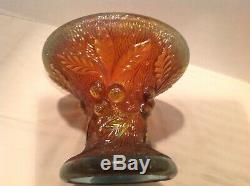 Northwood Acorn Burrs Carnival Glass Punch Bowl Base Aqua Opalescent Very Rare