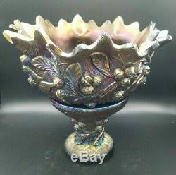 Northwood Acorn Burrs Carnival Glass Punch Bowl with Stand and 5 (five) Cups