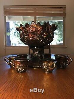 Northwood Acorn Burrs Punch bowl set Purple GORGEOUS 8cup Mint Amethyst large