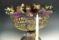 Northwood Amethyst Carnival Glass Punchbowl With Stand Marked