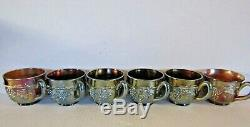 Northwood Amethyst Grape & Cable Carnival Glass Punch Bowl & Cups