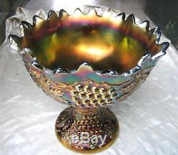 Northwood Antique Carnival Glass GRAPE and CABLE Punch Bowl and Base in Amethyst