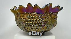 Northwood Carnival Glass Grape & Cable Amethyst Punch Bowl