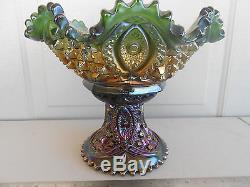 Northwood Carnival Glass MEMPHIS Punch Bowl and Base Set Amethyst Purple