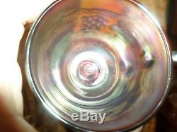 Northwood Carnival Glass Punch Bowl Grape & Cable & 4 Matching Cups