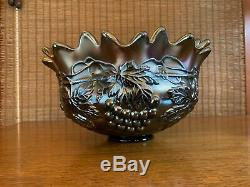 Northwood GRAPE & CABLE ANTIQUE CARNIVAL GLASS PUNCH BOWL WITH BASE AND ONE CUP