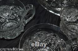 Northwood Glass Memphis Crystal Punch Bowl Set RARE Bowl Pedestal Cups
