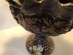 Northwood Grape & Cable Amethyst Carnival Glass Punch Bowl with Stand